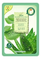 BeauuGreen Тканевая 3D маска для лица с экстрактом алоэ вера 3D Aloe Essence Mask 23г
