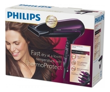 PHILIPS Фен для волос ThermoProtect Ionic HP8233/00 2200W (2 насадки)
