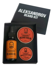 ALEKSANDROV Набор для бороды Beard No03 (масло Sunrise Oil 30мл + бальзам Sunset Balm 30г + воск Sunset Moustache Wax Strong 13г)