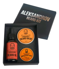 ALEKSANDROV Набор для бороды Beard No04 (масло Sunset Oil 30мл + бальзам Sunrise Balm 30г + воск Sunrise Moustache Wax Strong 13г)