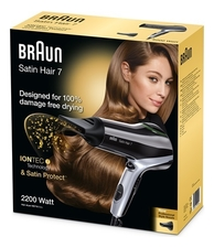 Braun Фен для волос Satin Hair 7 Professional SensoDryer HD785 2000W (2 насадки)