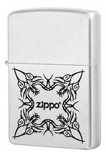Zippo Зажигалка бензиновая Tattoo Design (серебристая, матовая)