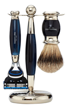 Truefitt & Hill Набор Edwardian Set Faux Blue Opal: Badger Brush Fusion Razor Stand (кисть для бритья + станок Fusion + подставка) синий опал