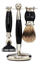 Truefitt & Hill Набор Edwardian Set Faux Ebony: Badger Brush Mach III Razor Stand (кисть для бритья + станок Mach III + подставка) цвет эбонит